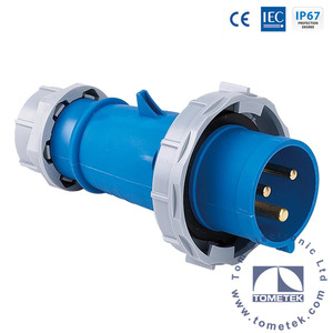 2P+E 3 pin 6h IP67 230V 63A Industrial Male Plug Socket