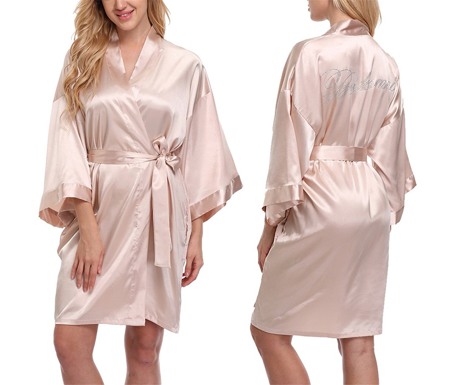 b577e6a963 Get Quotations · FADSHOW Women s Satin Wedding Robes Solid Color Short Kimono  Robes for Wedding Party-Silky Touch