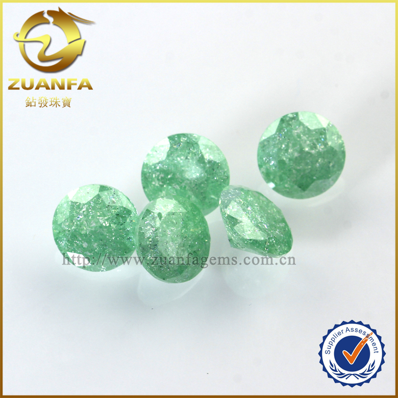 7mm stock machine cut green round cubic zirconia stone cracked cz