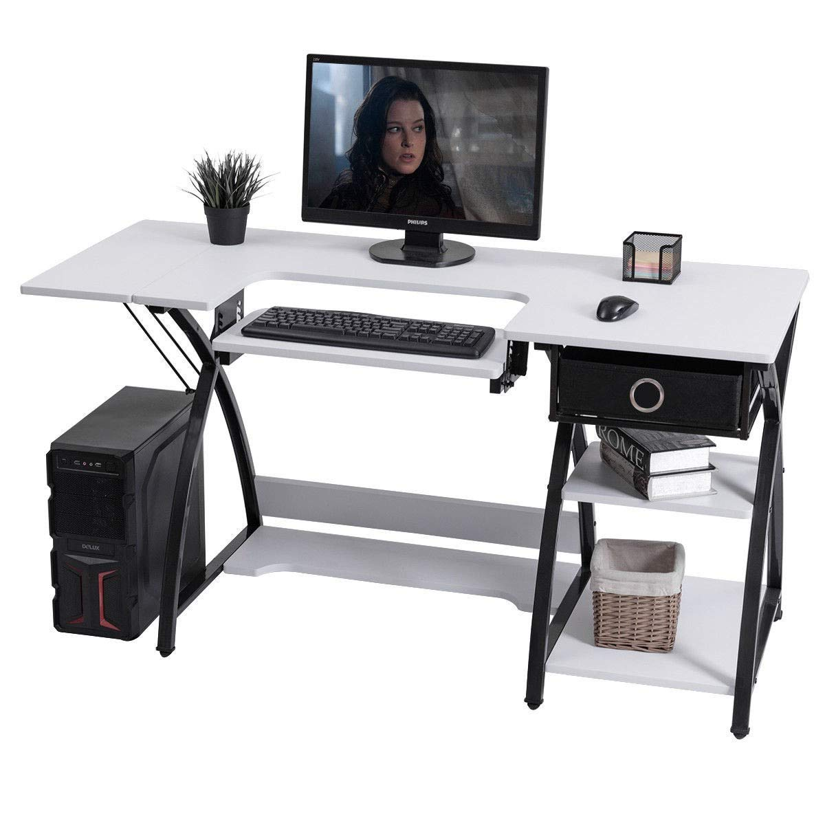 F2C Rolling Drawing Desk Craft Station Art Craft Hobby Drafting Table Desk Glass Top with Drawers