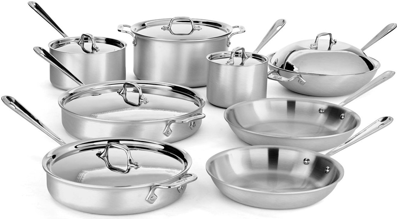 All-Clad 700492 MC2 Professional Master Chef 2 Stainless Steel Bi-Ply Bonded Oven Safe PFOA Free Cookware Set, 14-Piece, Silver