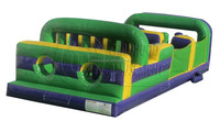 3 Lane green adult inflatable obstacle course