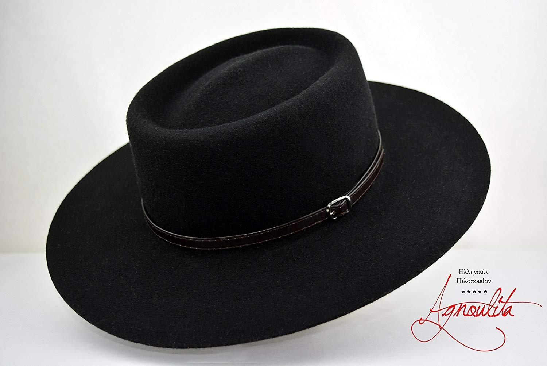 c9552876dc1 Get Quotations · The Gambler - Black Wool Felt Gambler Bolero Hat - Wide  Brim - Men Women