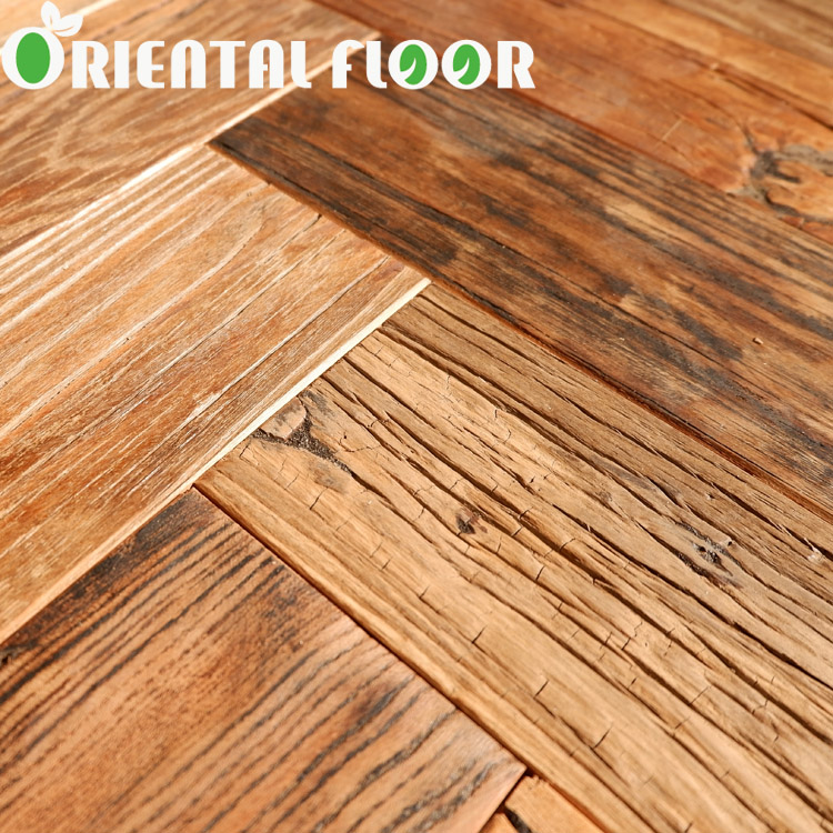 reclaimed elm herringbone engineered parquet wood flooring