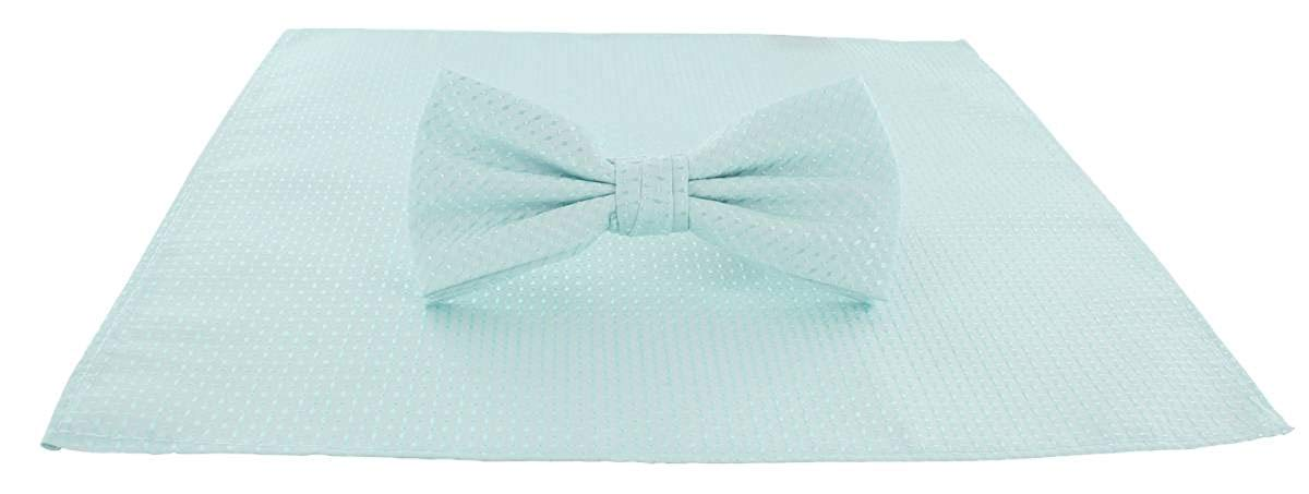 Michelsons of London Mens Semi Plain Bow Tie and Pocket Square Set - Mint