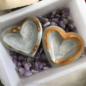 Wholesale heart shaped natural ocean jasper quartz crystal ashtray rock ocean jade raw stone for decoration
