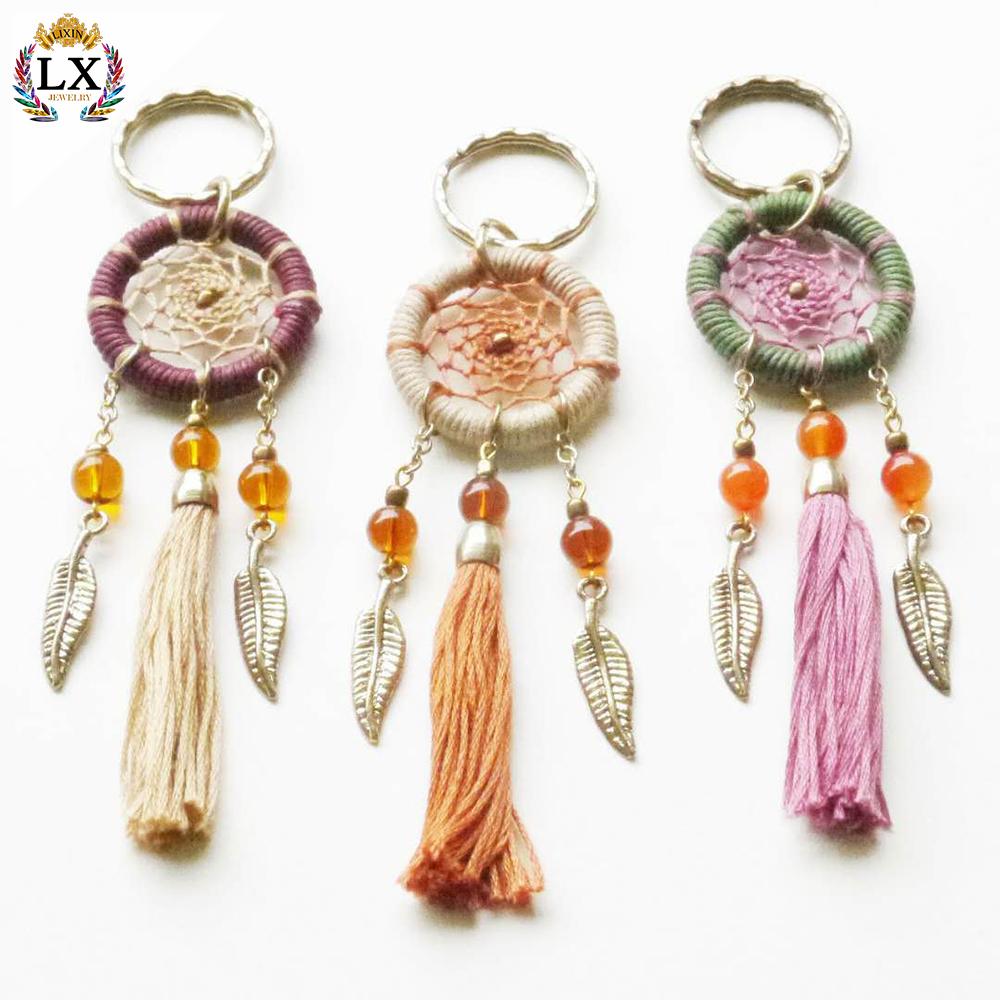 1 pc Handmade Key Ring Black Dream Catcher Handcraft Feather Key chain Accessory