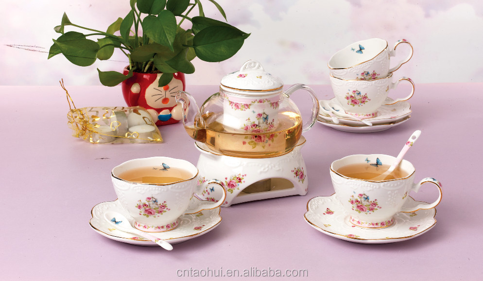 luxury 15pcs bone china tea set