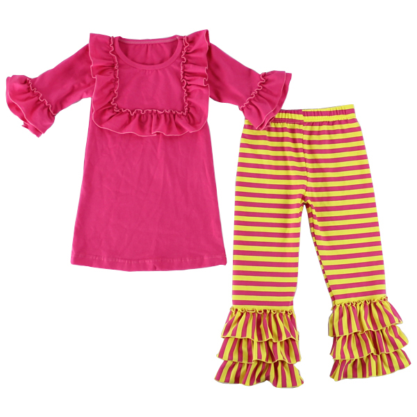 Wholesale boutique clothes hot pink ruffle bib 3/4 sleeve tunic with yellow striped pants clothing sets kids fall outfits