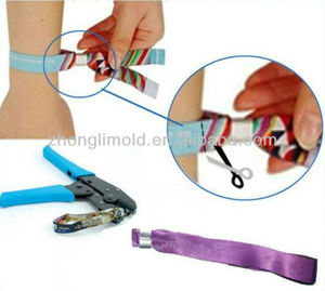 Popular Flat Aluminum Closing Tube For Event Wristband,Metal Clip For Festival Wristband
