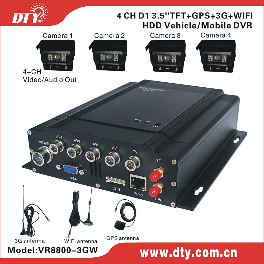 4 channel 3G GPS WI-FI CMS free software pcb dvr