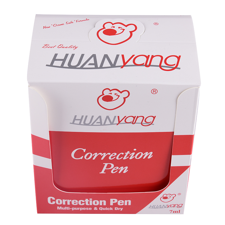 HUANyang nice price comfortable appearance 7ml white out corrector fluid correction pen
