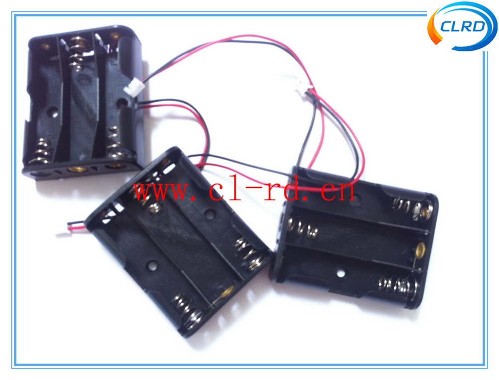 3 AA Plastic 4.5v Battery Holder With Wire Leads and JST Connector