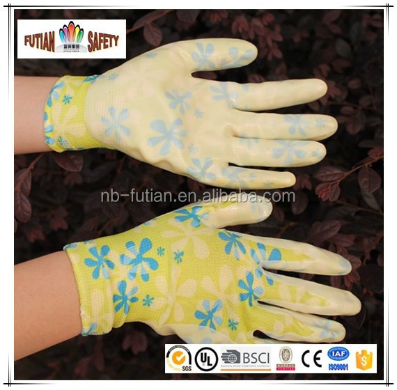 FTSAFETY 13G printed patterns nylon shell work pu glove