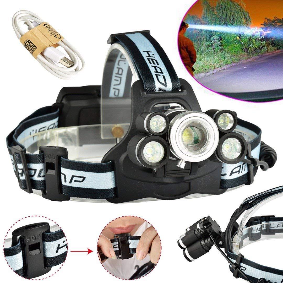 ERTIANANG Mayitr Rechargeable Super Bright XML+T6-2409-B LED 18650 Battery Headlamp Telescopic Zoom Headlight for Hunting Fishing Light