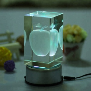Crystal 3D Laser apple usb crystal cube with led light base for home decoration