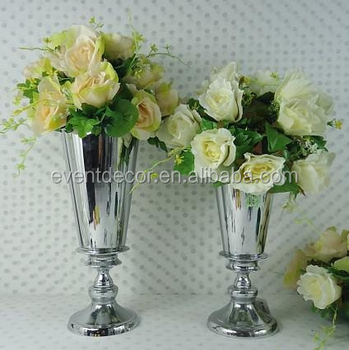 Mini Silver Flower Vasesmetal Vases Stand For Home Wedding