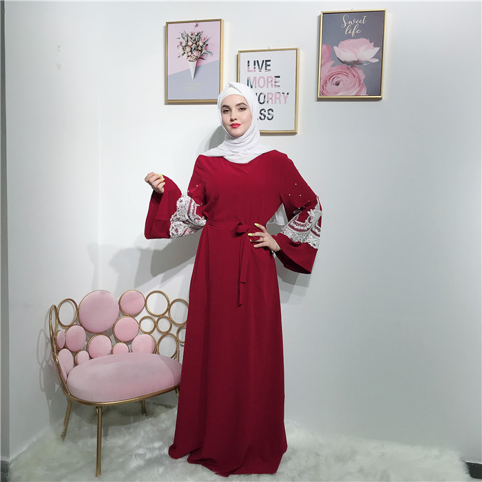 new arrival 2019 fashion slamic Abaya Muslim Dress sleeve with lace and pearls