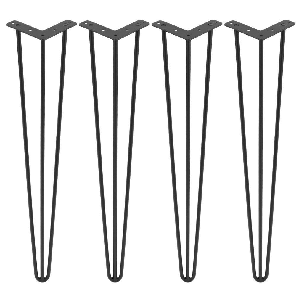 """30"""" Black Hairpin Legs(Set of 4), 3/8"""" Diameter, Metal Heavy Duty Mid-Century Modern Table Legs for Coffee Table, TV Stand, Sofa Side Table, Night Stands, end Tables"""