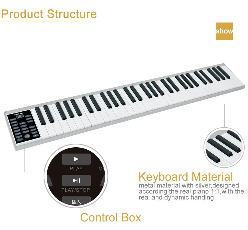 New Fashion China Digital Piano 61Keys Roll Up Keyboard Digital Piano for Sale