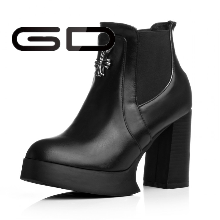 Chunky heel real leather ankle boots round and point toe platform boots