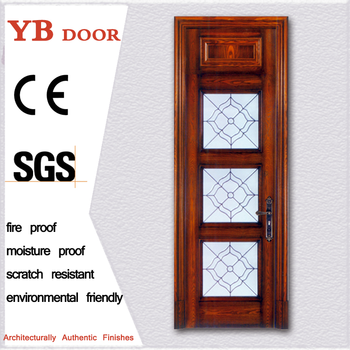 Wholesale awesome design front external laminate sheet wooden door frame decoration hotel rooms door YBVD-