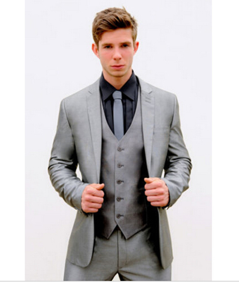 Buy High Quality Mens tuxedo Silver Grey Slim Fit Suit Wedding