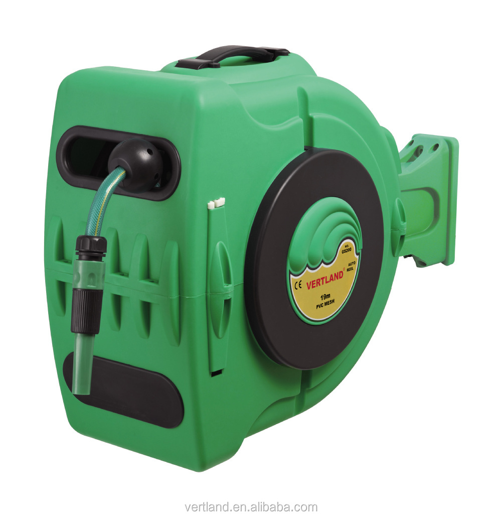 28M 1/2inch Wall Mounted Auto Rewind Water Garden Hose Reel With Nozzle