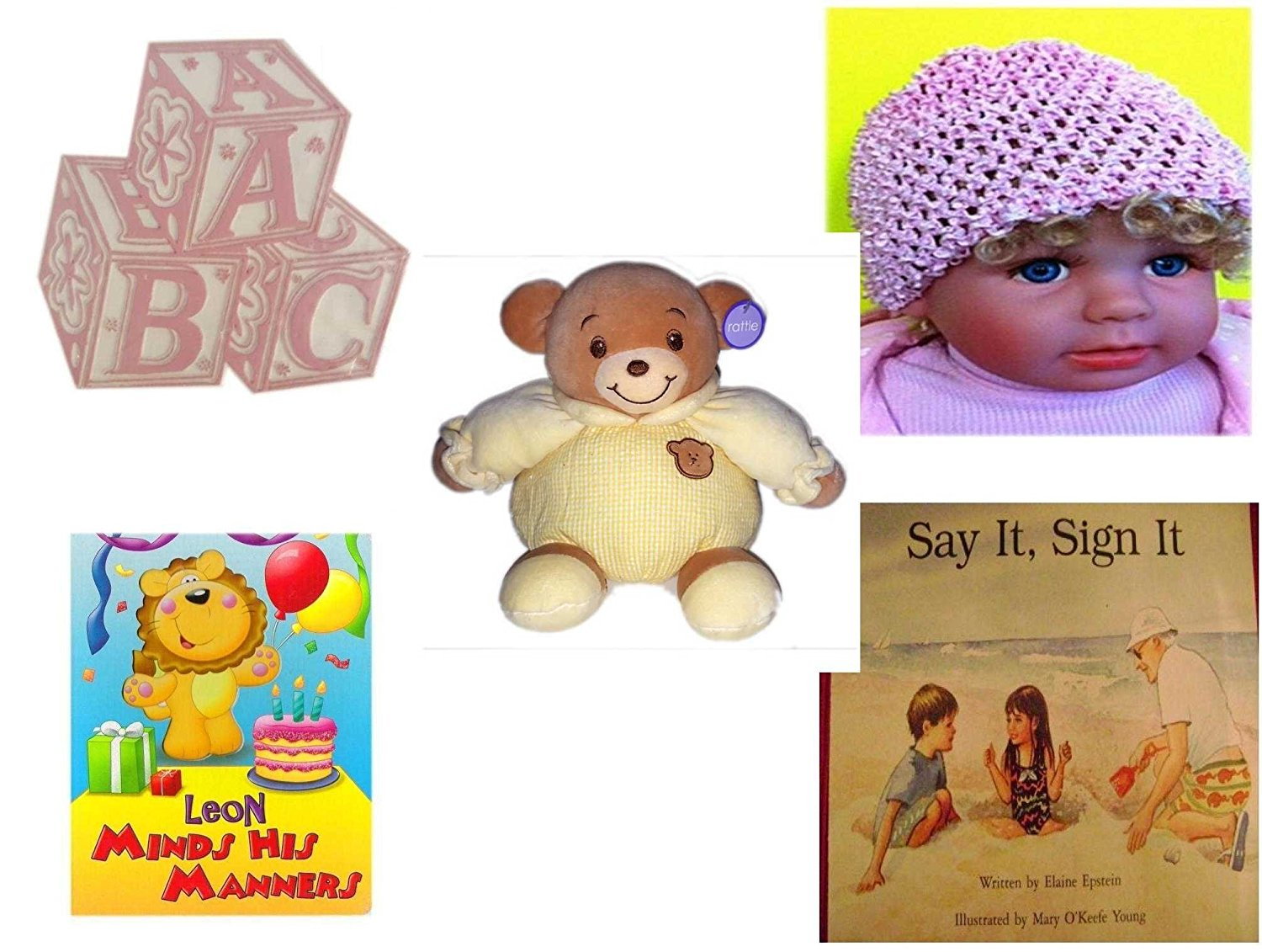 Children's Gift Bundle - Ages 0-2 [5 Piece] - ABC Baby Blocks Cake Topper Pink Girl - Baby Crochet Beanie Pink - Baby Bow Bear Rattle Plush - Leon Minds His Manners Board Book - Say It, Sign It