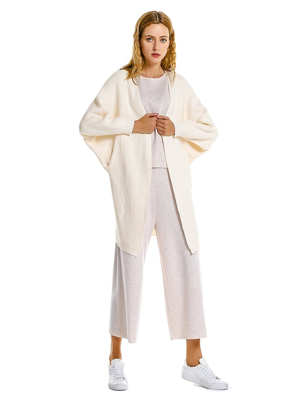 ZAN.STYLE Women Cozy Batwing Sleeve Open Front Oversized Knit Cardigan Sweater Coat With Pockets