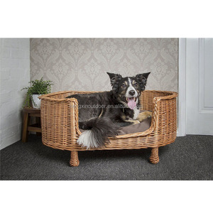 Wicker Luxury Willow Pet Supplies Dog Basket Settee Bed With Cushion