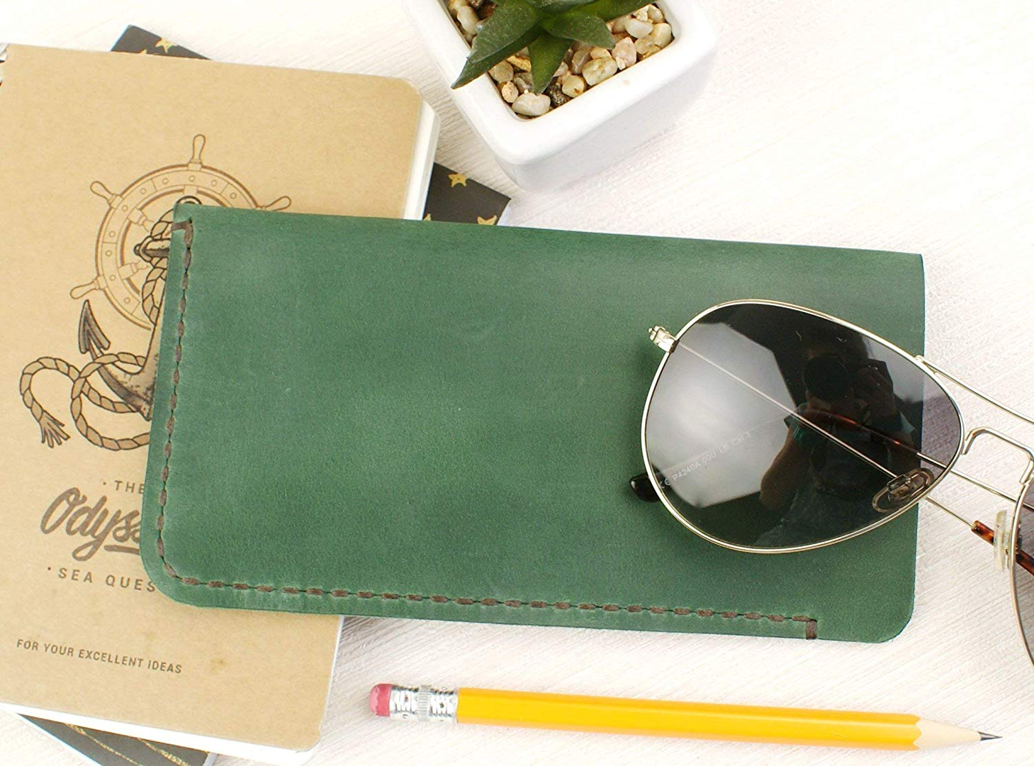 fe040711bb1a Get Quotations · Soft Eyeglass Case GREEN + Free Gift - Crazy Horse Leather  - Eyeglass Case - Genuine