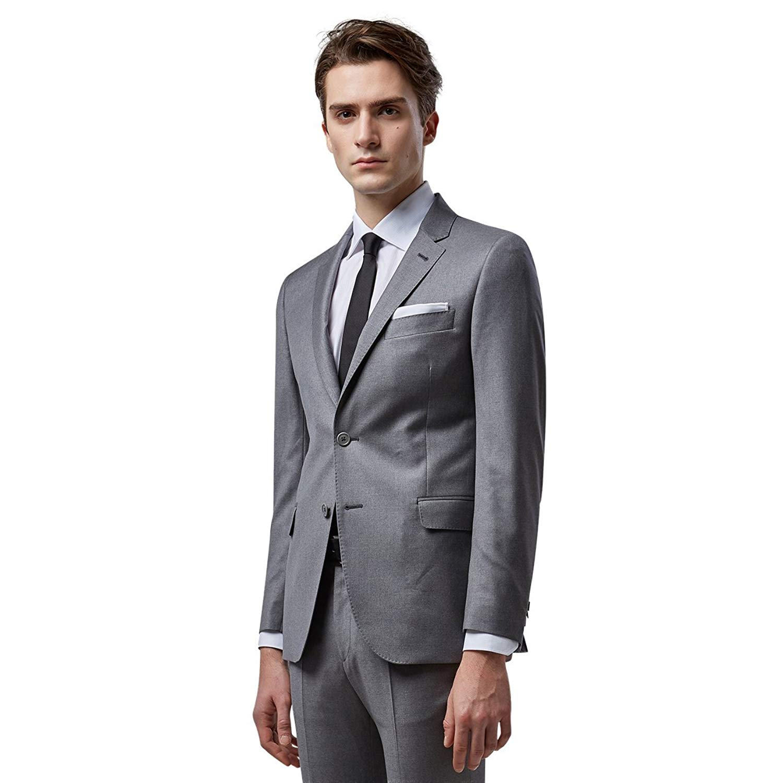 aa6bd4cc35ef Get Quotations · Mens Grey Suits Slim Fit Classic 2 Piece Suit Set for Men