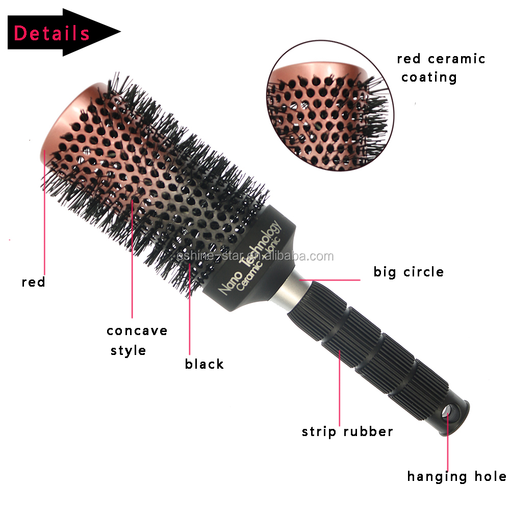 factory price concave style rubber handle ceramic hair nylon  brush set manufacture