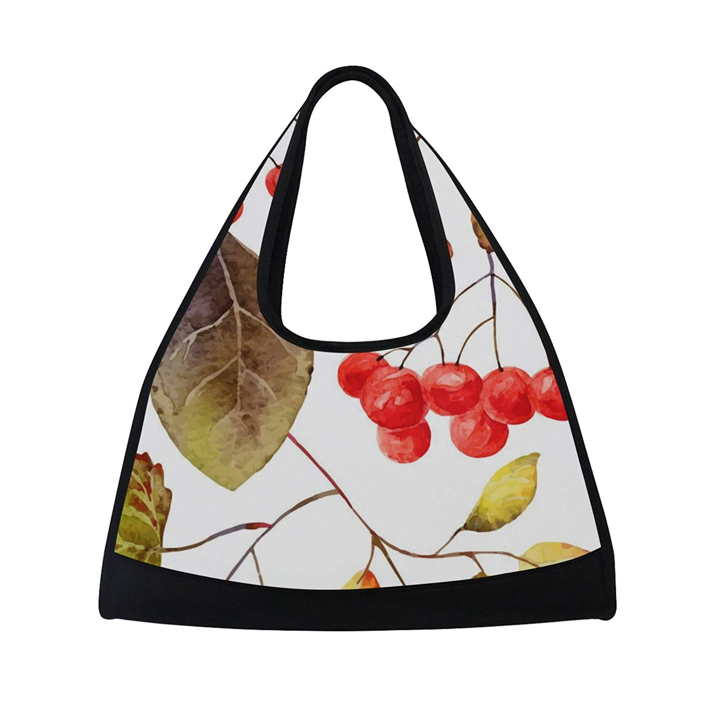 Sport Gym Bag Watercolor Fruit Leaf Canvas Travel Duffel Bag
