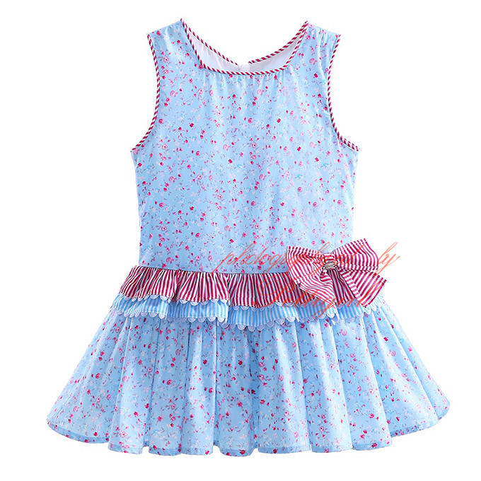 New Designs Girl Dresses Fashion Kids Dress Flower Sleeveless Girls Clothes With Hair Band G-DMGD907-778