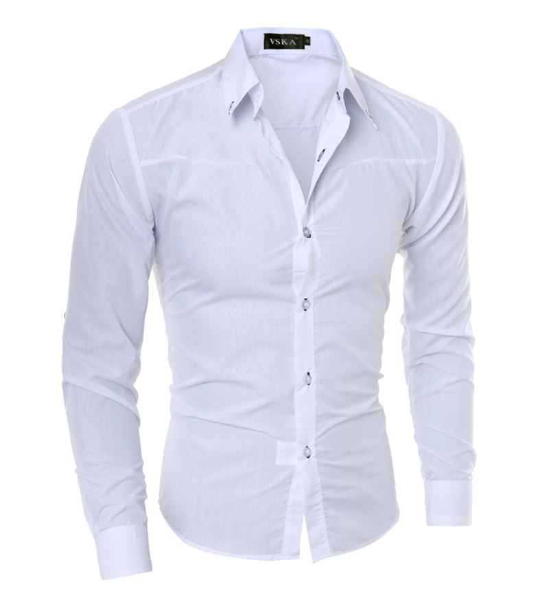 569d46569 Get Quotations · M-5XL Plus Size Professional Mens Dress Shirts Fashion  Moisture Wicking Long Sleeve Solid Hombre