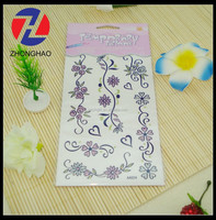 2015 New arrived wholesale flower design unique custom made glitter decorate water proof tattoo