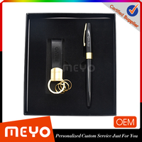 Good quality promotion premium gift items Leather key chain pen gift set