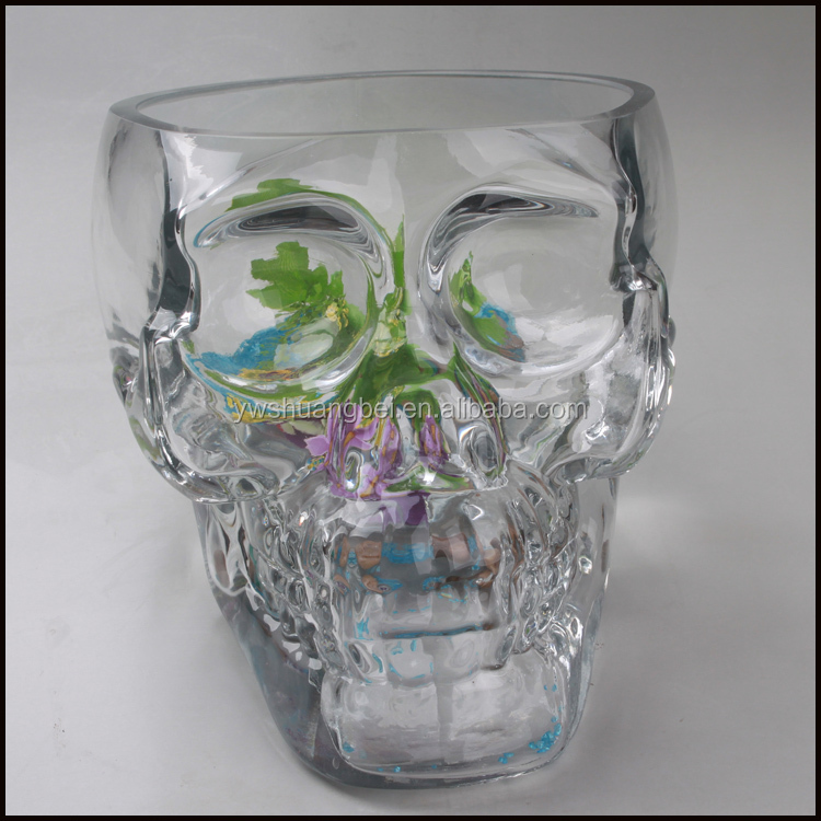 2015 two sizes latest large creative design skull head for Large glass fish bowl