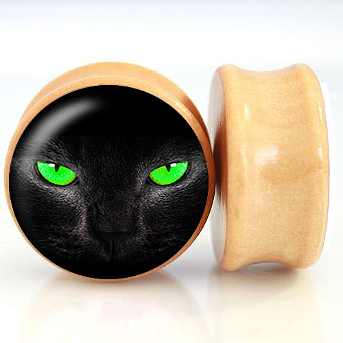 2pcs/Lot Pair of Nature Wood Ear Plugs Fit Ear Gauges Plugs Flesh Tunnels- Green Eye Cat 6MM-25MM 2G-1''