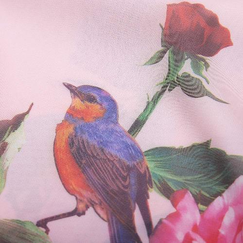 0536494fe7 New Summer Women Chiffon Maxi Long Dress Rose Bird Print O-Neck Long Sleeve  Bohemia