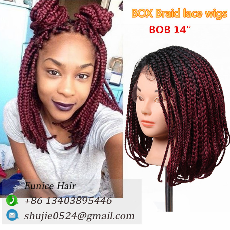 14 16 24 Inch Crochet Hair Wigs Box Braids Short Bob Hairstyle Lace Front Synthetic Women For Black