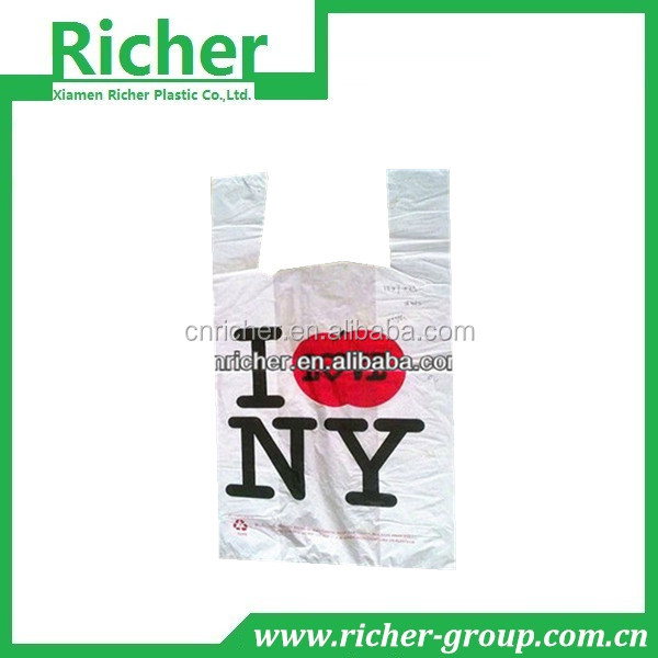 Plastic T-Shirt Bags with Smile Face for grocery packing use