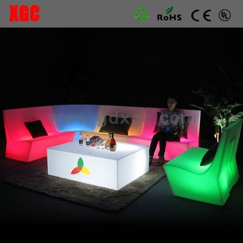 Glowing plastic lightweight KTV combinational sofa set Illuminated hotel furniture CE standard royal furniture sofa set