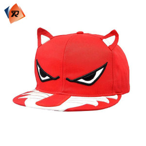 Classic Cartoon Embroidery Logo 6 Panel Kid Snapback Cap