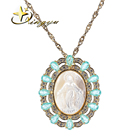 Custom pendant jewelry our lady maria noble cz and glass pendant necklace