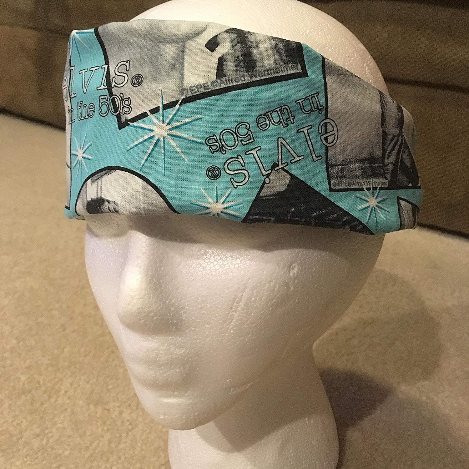 Sky Blue Elvis Headband, Reversible Handmade King of Rock and Roll Unisex Headwrap, Black with White Polka Dots on Reverse Side, One Size Fits Most (Made in United States)