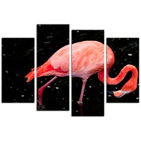 Flamingo Wall Art/Pink Bird Picture Prints on Canvas/Animal Canvas Art set of 4