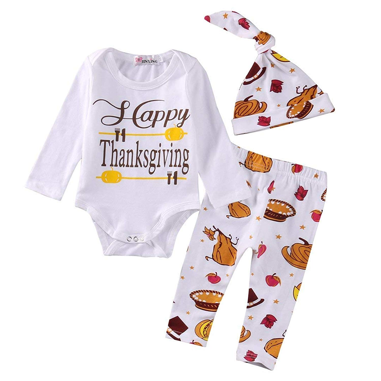 36b99ae5d700a Thanksgiving Outfit Newborn Baby Boy Girl My First Thanksgiving Romper  Turkey 4pcs Clothes Set